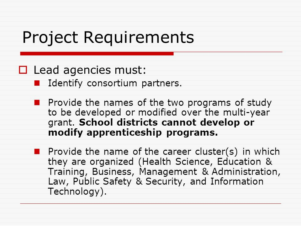 Project Requirements Lead agencies must: Identify consortium partners.