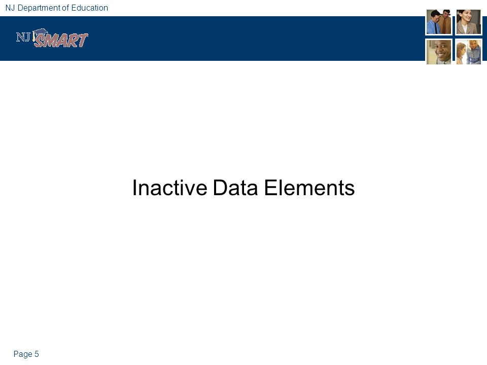 Page 5 NJ Department of Education Inactive Data Elements