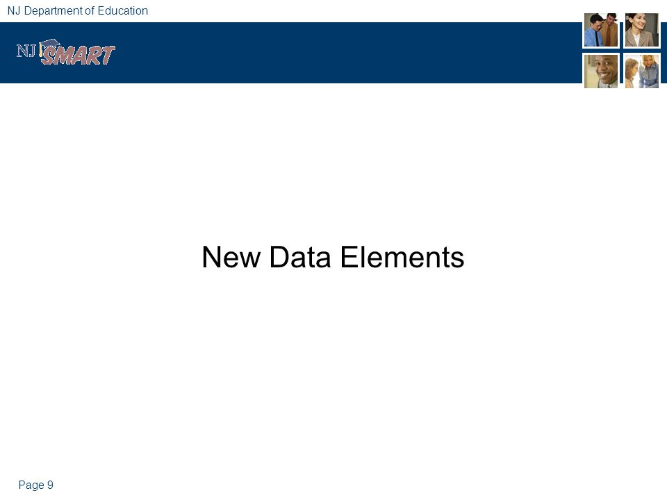 Page 9 NJ Department of Education New Data Elements