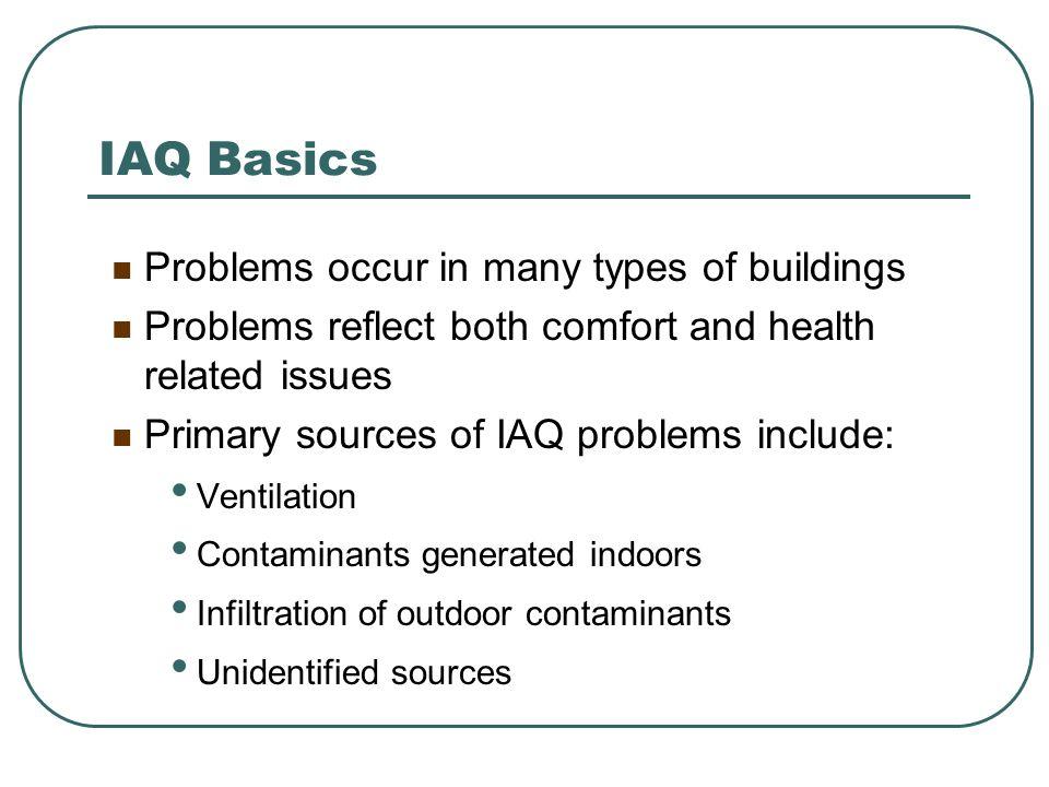 IAQ Basics Types of Air Contaminants .