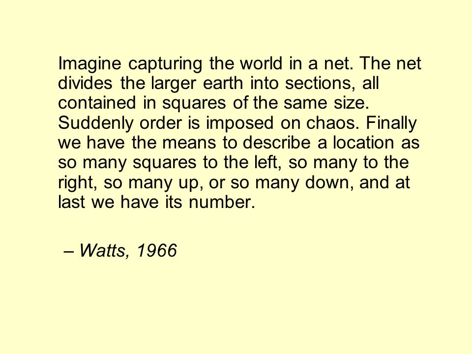 Imagine capturing the world in a net. The net divides the larger earth into sections, all contained in squares of the same size. Suddenly order is imp