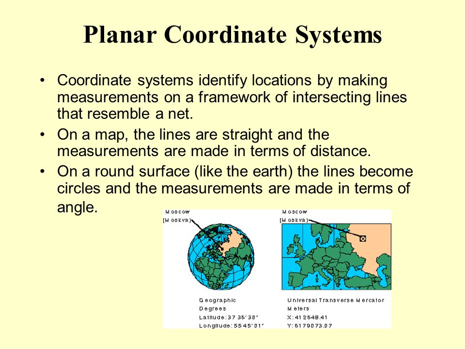 Planar Coordinate Systems Coordinate systems identify locations by making measurements on a framework of intersecting lines that resemble a net. On a