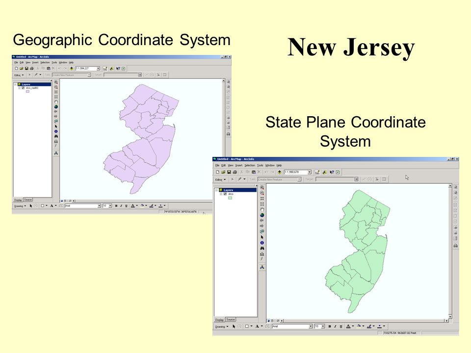 Geographic Coordinate System State Plane Coordinate System New Jersey