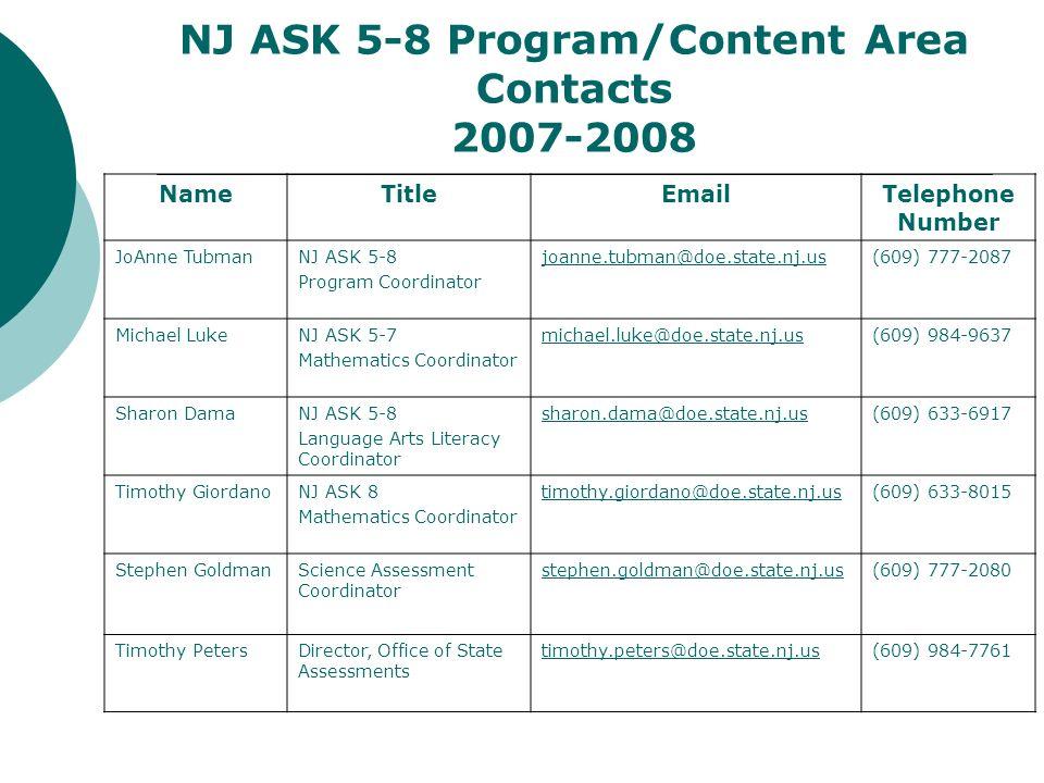 NJ ASK 5-8 Program/Content Area Contacts 2007-2008 NameTitleEmailTelephone Number JoAnne TubmanNJ ASK 5-8 Program Coordinator joanne.tubman@doe.state.nj.us(609) 777-2087 Michael LukeNJ ASK 5-7 Mathematics Coordinator michael.luke@doe.state.nj.us(609) 984-9637 Sharon DamaNJ ASK 5-8 Language Arts Literacy Coordinator sharon.dama@doe.state.nj.us(609) 633-6917 Timothy GiordanoNJ ASK 8 Mathematics Coordinator timothy.giordano@doe.state.nj.us(609) 633-8015 Stephen GoldmanScience Assessment Coordinator stephen.goldman@doe.state.nj.us(609) 777-2080 Timothy PetersDirector, Office of State Assessments timothy.peters@doe.state.nj.us(609) 984-7761