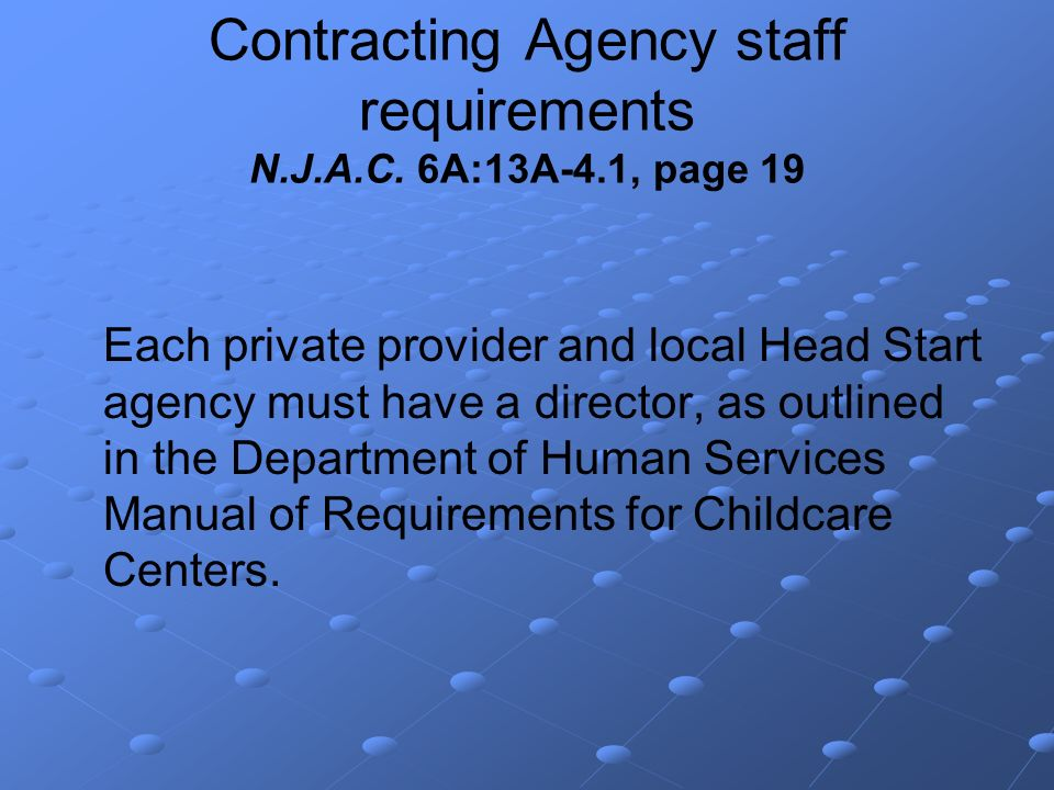 Contracting Agency staff requirements N.J.A.C.