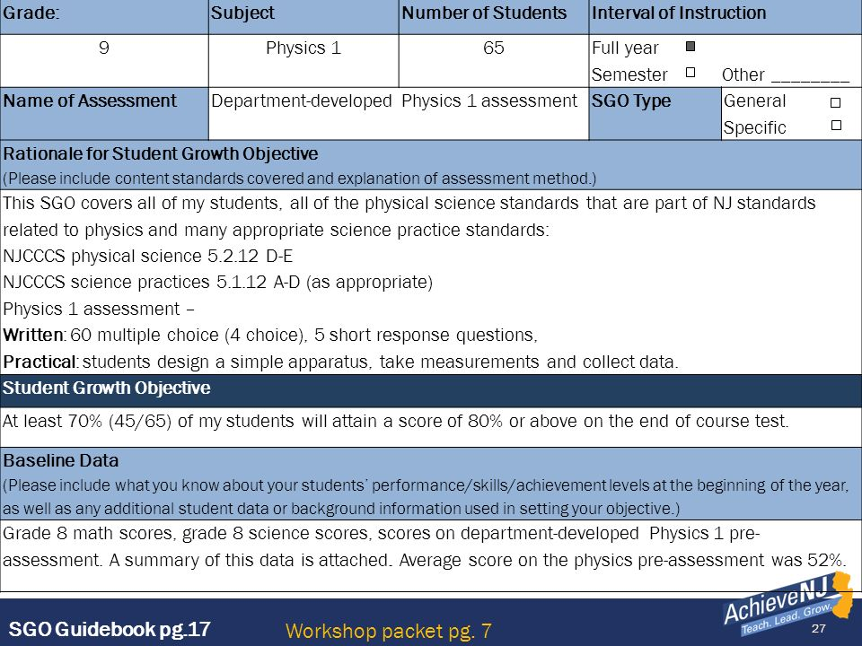 27 Grade:SubjectNumber of StudentsInterval of Instruction 9Physics 165 Full year Semester Other ________ Name of AssessmentDepartment-developed Physic