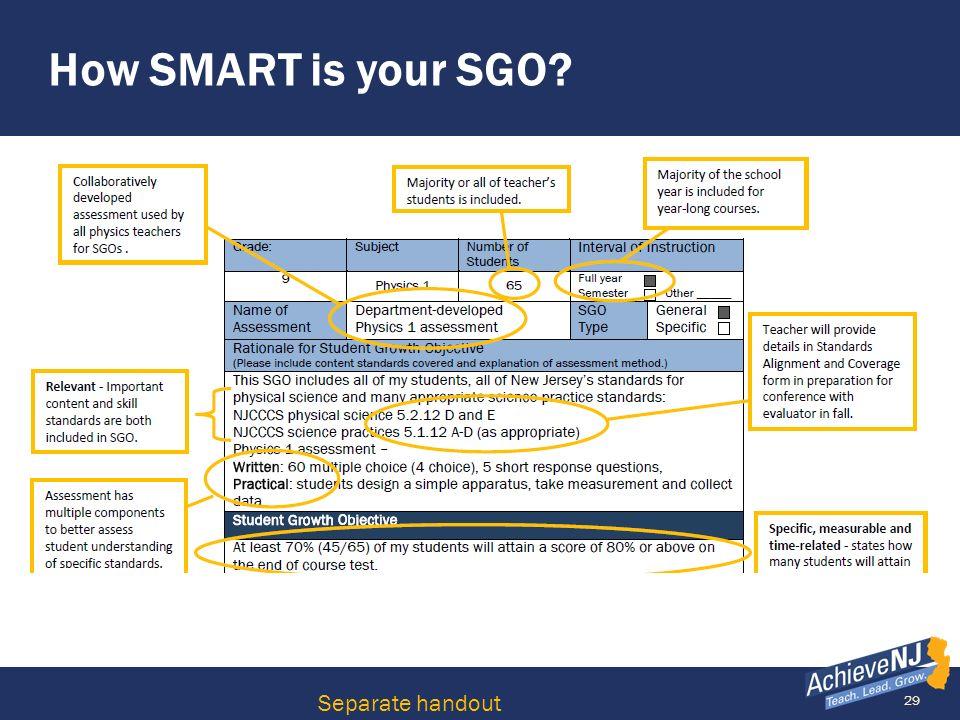29 How SMART is your SGO? Separate handout