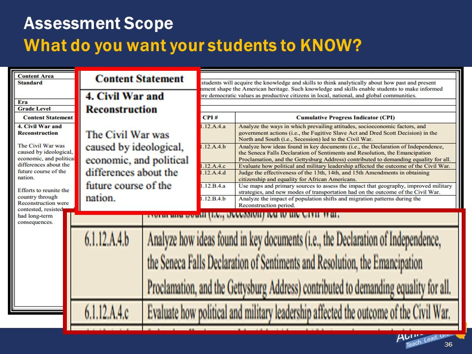 36 Assessment Scope What do you want your students to KNOW?