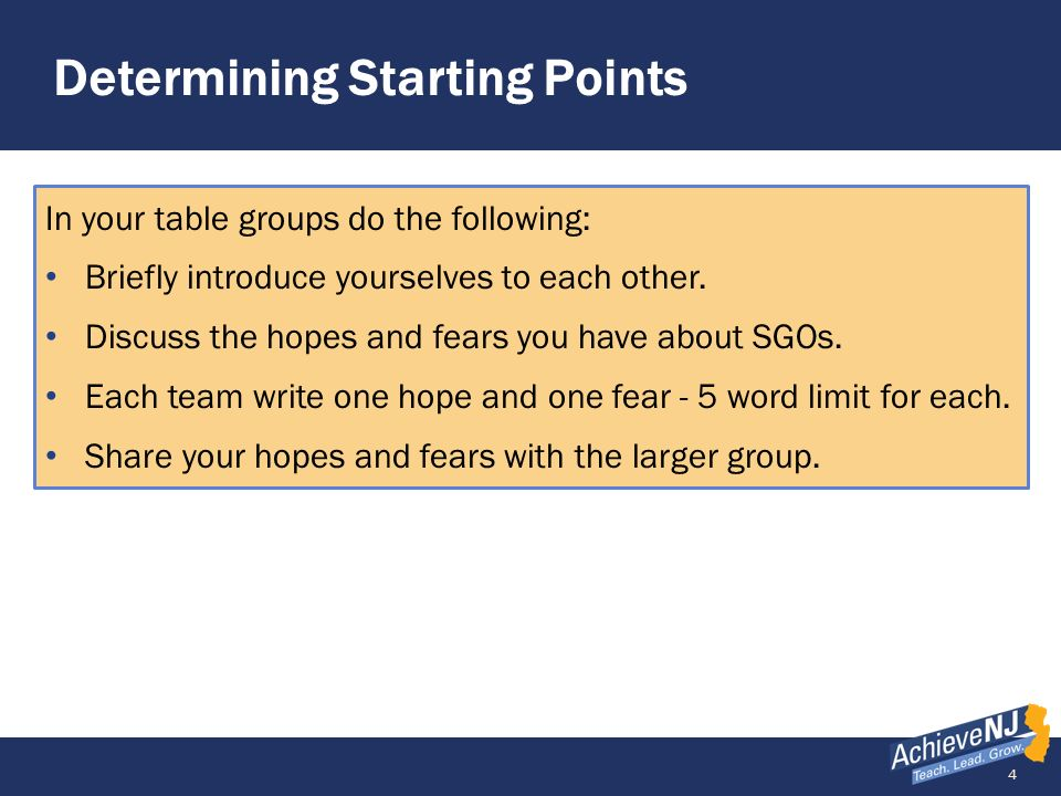 55 Step 2 – Determine Students Starting Points Multiple Sources of Data Student Portfolio Score (June 2013) Pre-Assessment (Sep 2013) Preparedness Group 18976High 26843Low 37854Medium 48666Medium A 9 th -grade LAL teacher has two sets of data readily available: a department-wide pre-assessment that is based on the content and structure of the final assessment and scores on the portfolio that the students completed the previous year.