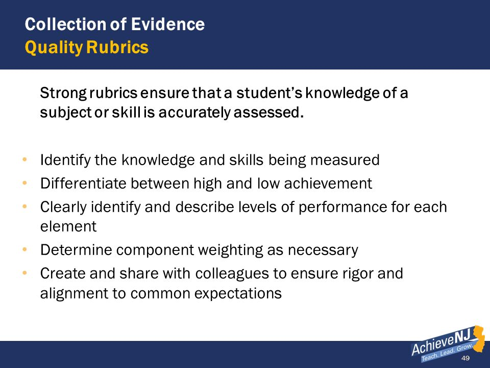 49 Collection of Evidence Quality Rubrics Strong rubrics ensure that a students knowledge of a subject or skill is accurately assessed. Identify the k
