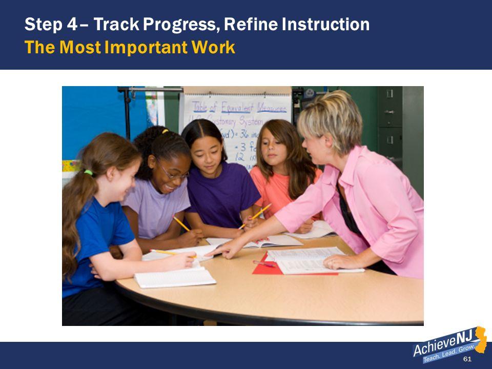 61 Step 4– Track Progress, Refine Instruction The Most Important Work
