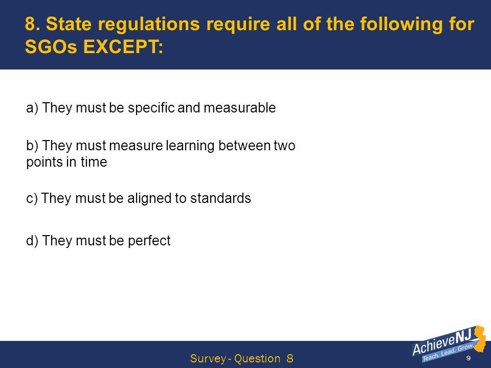 60 5 Steps of the SGO Process Step 1 Choose or develop a quality assessment aligned to NJCCCS or CCSS.