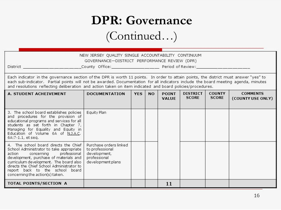 16 DPR: Governance (Continued…) NEW JERSEY QUALITY SINGLE ACCOUNTABILITY CONTINUUM GOVERNANCEDISTRICT PERFORMANCE REVIEW (DPR) District ________________________County Office:____________________ Period of Review:______________________ Each indicator in the governance section of the DPR is worth 11 points.