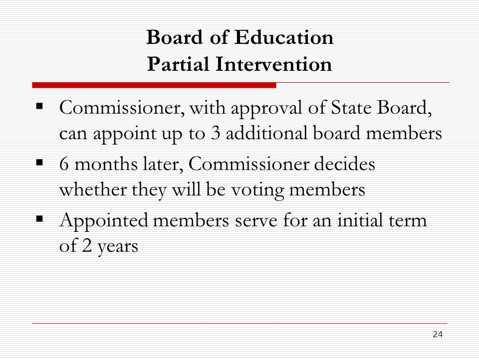 24 Board of Education Partial Intervention Commissioner, with approval of State Board, can appoint up to 3 additional board members 6 months later, Commissioner decides whether they will be voting members Appointed members serve for an initial term of 2 years