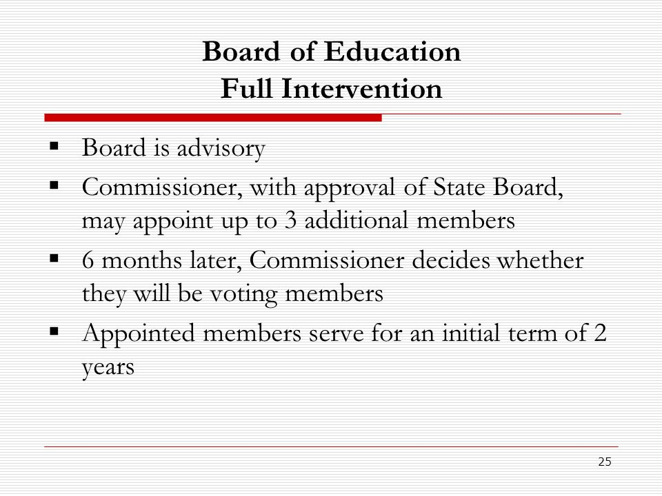 25 Board of Education Full Intervention Board is advisory Commissioner, with approval of State Board, may appoint up to 3 additional members 6 months later, Commissioner decides whether they will be voting members Appointed members serve for an initial term of 2 years