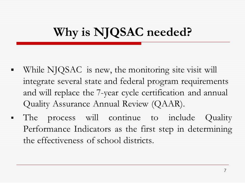 8 NJQSAC – How it Works Five Components of School District Effectiveness There are 5 components of school district effectiveness: 1.