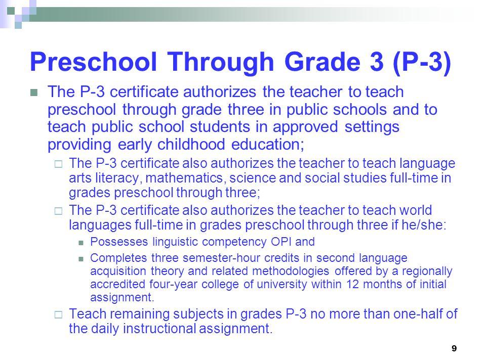 9 Preschool Through Grade 3 (P-3) The P-3 certificate authorizes the teacher to teach preschool through grade three in public schools and to teach pub