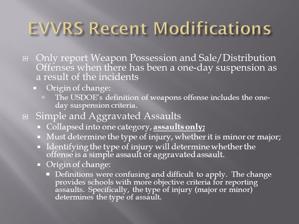 Only report Weapon Possession and Sale/Distribution Offenses when there has been a one-day suspension as a result of the incidents Origin of change: T