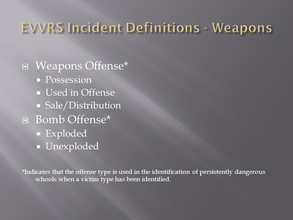 Weapons Offense* Possession Used in Offense Sale/Distribution Bomb Offense* Exploded Unexploded *Indicates that the offense type is used in the identi