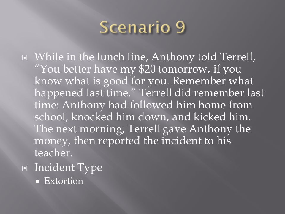 While in the lunch line, Anthony told Terrell, You better have my $20 tomorrow, if you know what is good for you. Remember what happened last time. Te