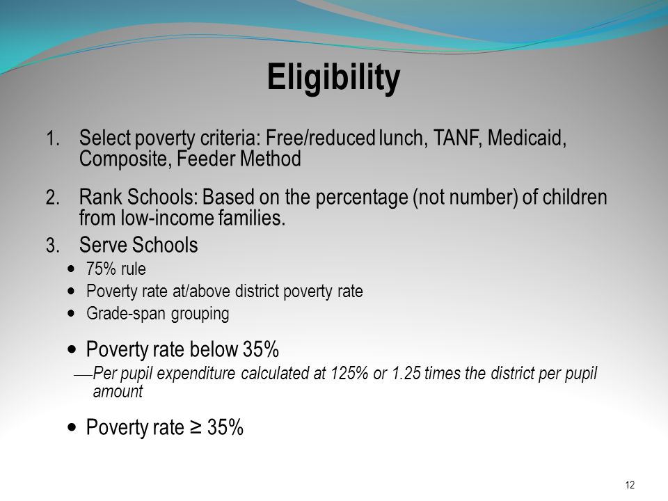 Eligibility 1. Select poverty criteria: Free/reduced lunch, TANF, Medicaid, Composite, Feeder Method 2. Rank Schools: Based on the percentage (not num