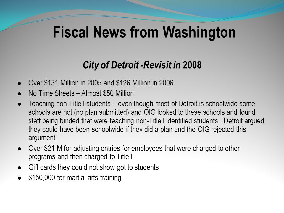 Fiscal News from Washington City of Detroit -Revisit in 2008 Over $131 Million in 2005 and $126 Million in 2006 No Time Sheets – Almost $50 Million Te
