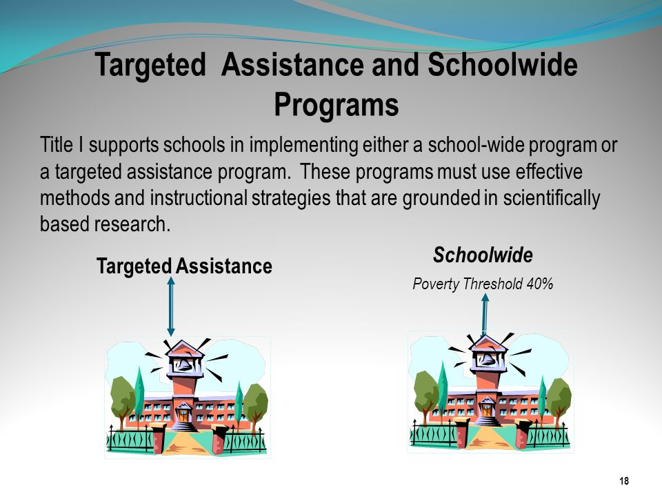 Targeted Assistance and Schoolwide Programs Title I supports schools in implementing either a school-wide program or a targeted assistance program. Th