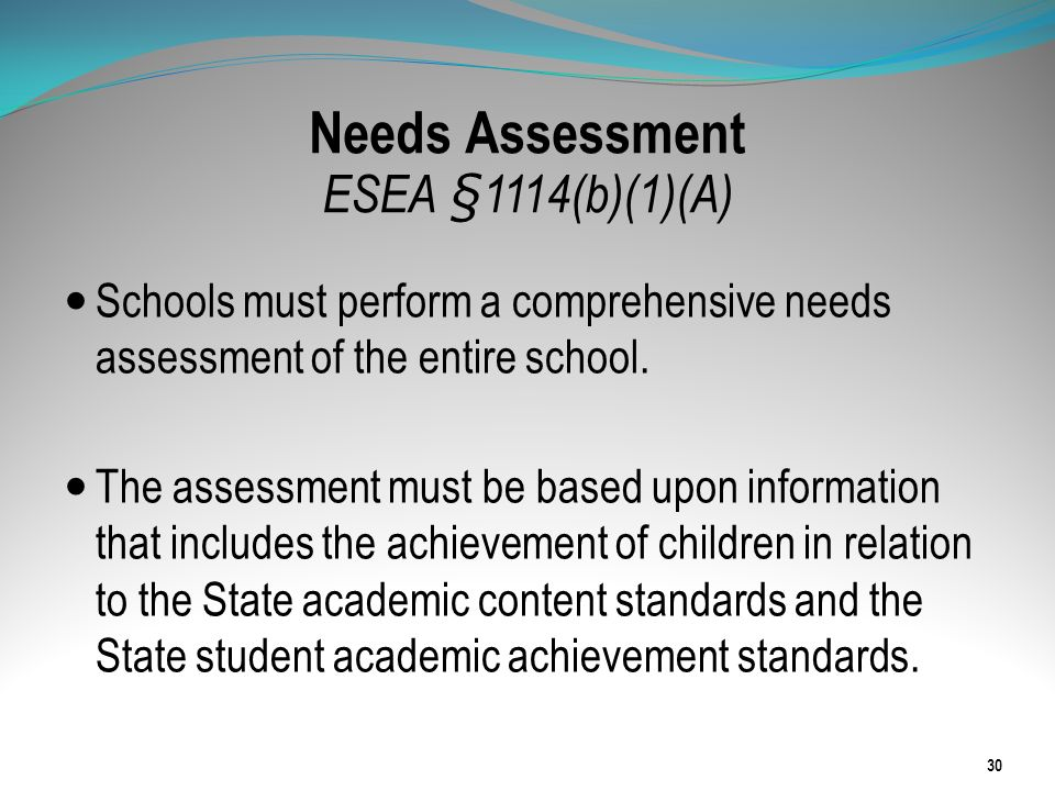 Needs Assessment ESEA §1114(b)(1)(A) Schools must perform a comprehensive needs assessment of the entire school. The assessment must be based upon inf