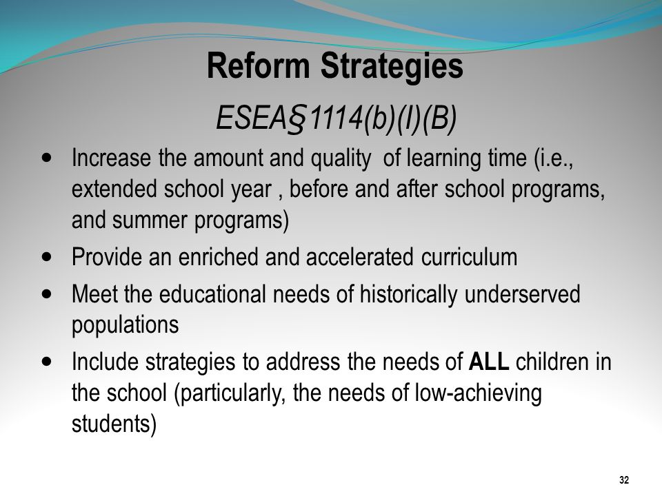 Reform Strategies ESEA§1114(b)(I)(B) Increase the amount and quality of learning time (i.e., extended school year, before and after school programs, a
