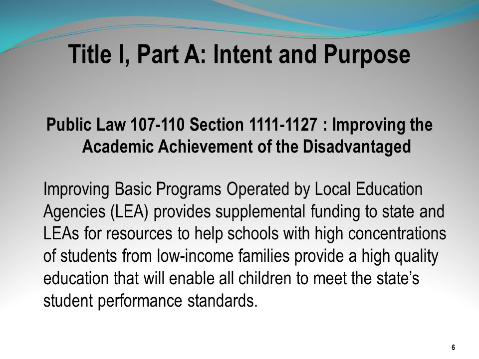 Title I Schoolwide Plan The schoolwide plan must include the following three elements: 1.