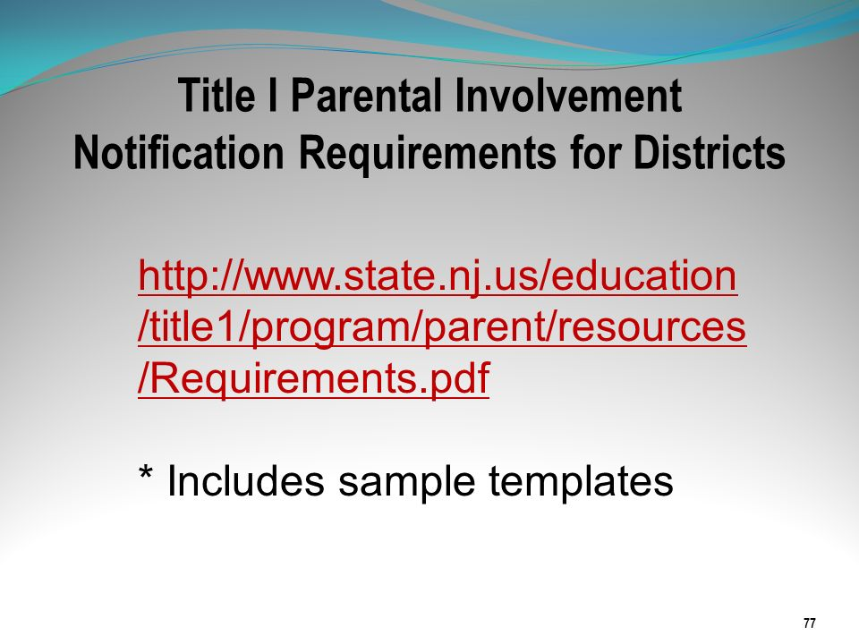 Title I Parental Involvement Notification Requirements for Districts 77 http://www.state.nj.us/education /title1/program/parent/resources /Requirement