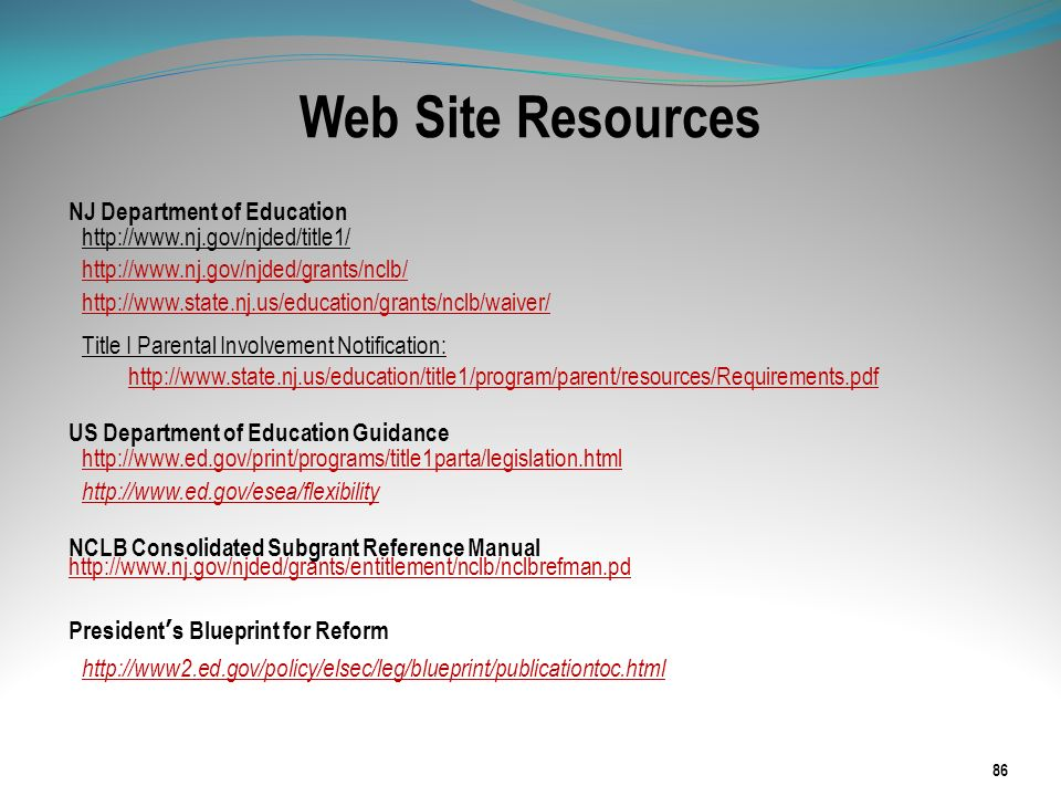 Web Site Resources NJ Department of Education http://www.nj.gov/njded/title1/ http://www.nj.gov/njded/grants/nclb/ http://www.state.nj.us/education/gr