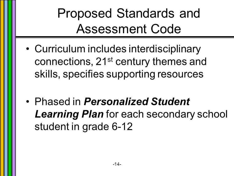 -14- Proposed Standards and Assessment Code Curriculum includes interdisciplinary connections, 21 st century themes and skills, specifies supporting resources Phased in Personalized Student Learning Plan for each secondary school student in grade 6-12