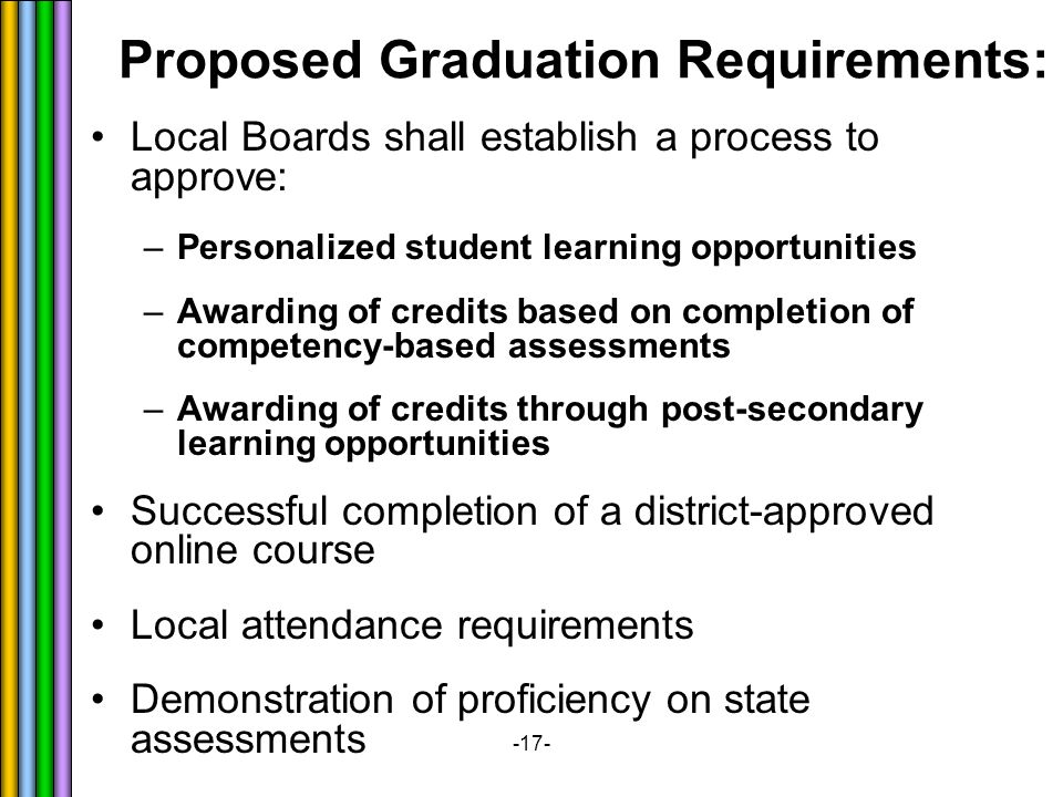 -17- Local Boards shall establish a process to approve: –Personalized student learning opportunities –Awarding of credits based on completion of competency-based assessments –Awarding of credits through post-secondary learning opportunities Successful completion of a district-approved online course Local attendance requirements Demonstration of proficiency on state assessments Proposed Graduation Requirements: