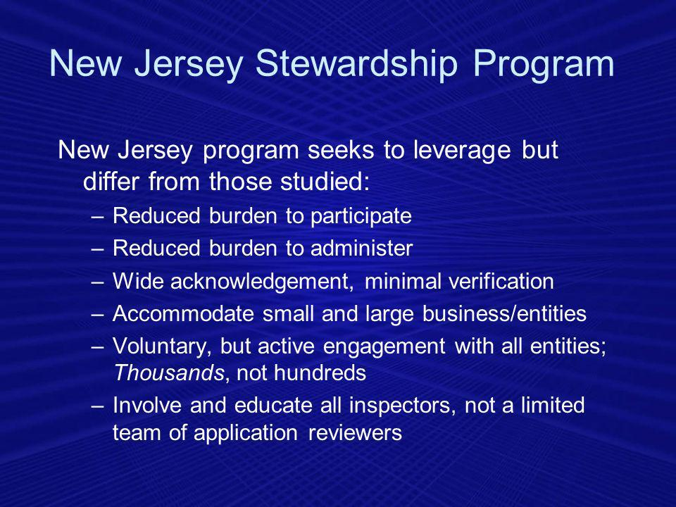 New Jersey program seeks to leverage but differ from those studied: –Reduced burden to participate –Reduced burden to administer –Wide acknowledgement