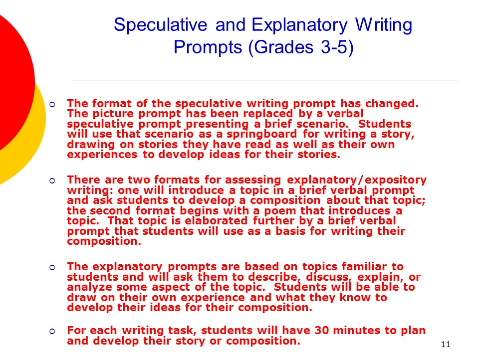 11 Speculative and Explanatory Writing Prompts (Grades 3-5) The format of the speculative writing prompt has changed. The picture prompt has been repl