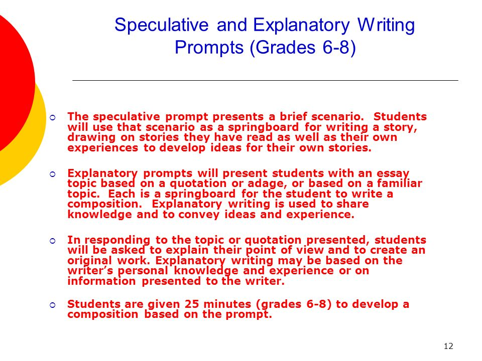 12 Speculative and Explanatory Writing Prompts (Grades 6-8) The speculative prompt presents a brief scenario.