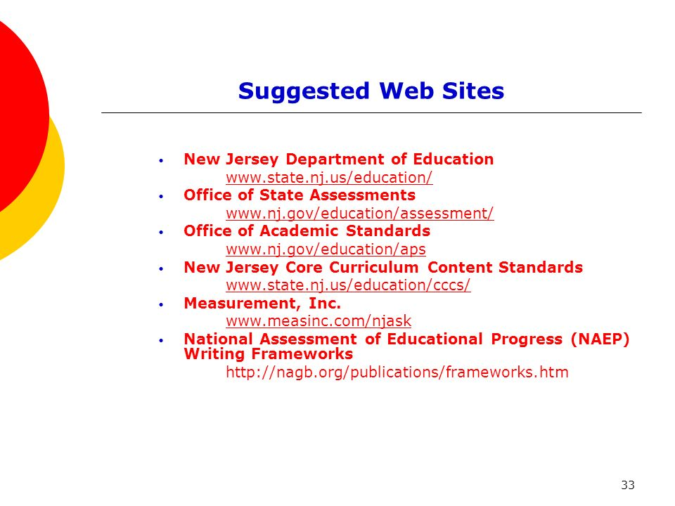 33 Suggested Web Sites New Jersey Department of Education www.state.nj.us/education/ Office of State Assessments www.nj.gov/education/assessment/ Offi
