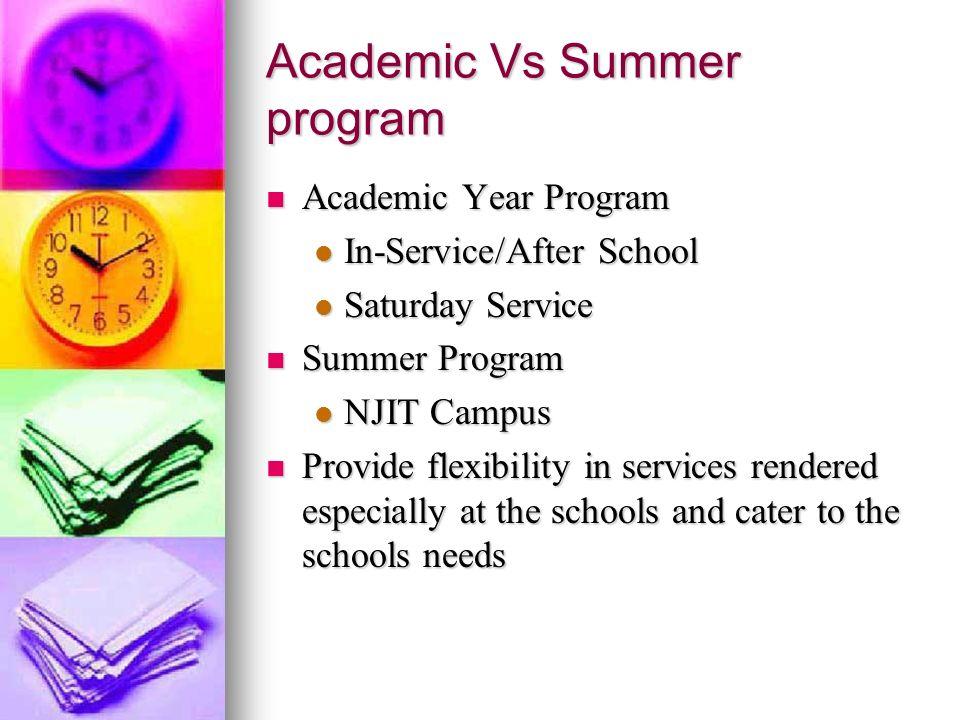 Academic Vs Summer program Academic Year Program Academic Year Program In-Service/After School In-Service/After School Saturday Service Saturday Servi