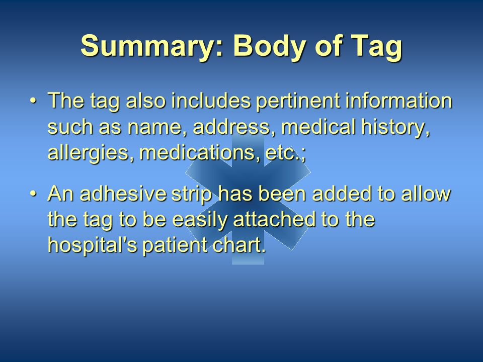 Summary: Body of Tag Decontamination solutions can be documented;Decontamination solutions can be documented; New sections have been included to addre
