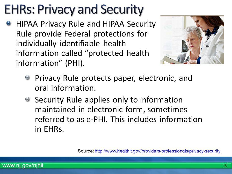 10 HIPAA Privacy Rule and HIPAA Security Rule provide Federal protections for individually identifiable health information called protected health inf