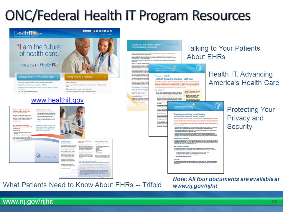 20 www.healthit.gov What Patients Need to Know About EHRs -- Trifold Talking to Your Patients About EHRs Health IT: Advancing Americas Health Care Protecting Your Privacy and Security Note: All four documents are available at www.nj.gov/njhit www.nj.gov/njhit