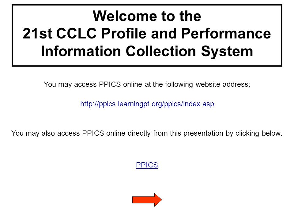 Welcome to the 21st CCLC Profile and Performance Information Collection System You may access PPICS online at the following website address: http://ppics.learningpt.org/ppics/index.asp You may also access PPICS online directly from this presentation by clicking below: PPICS