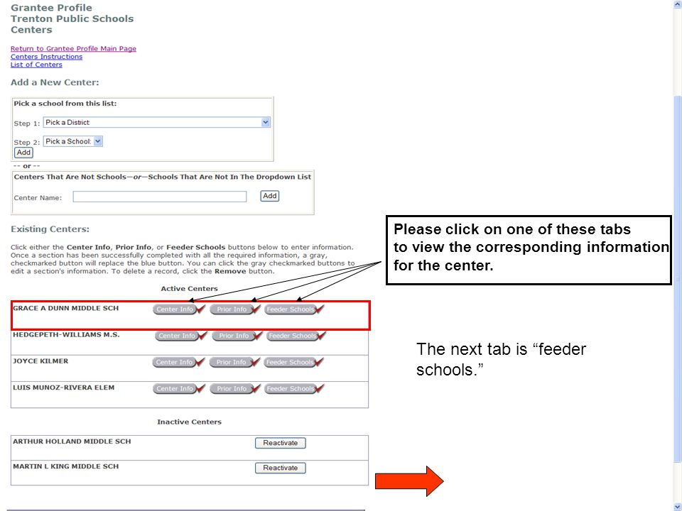 Please click on one of these tabs to view the corresponding information for the center. The next tab is feeder schools.