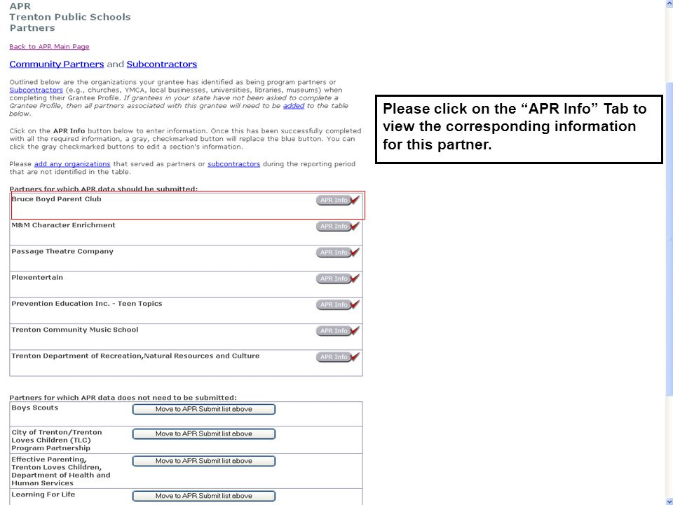 Please click on the APR Info Tab to view the corresponding information for this partner.