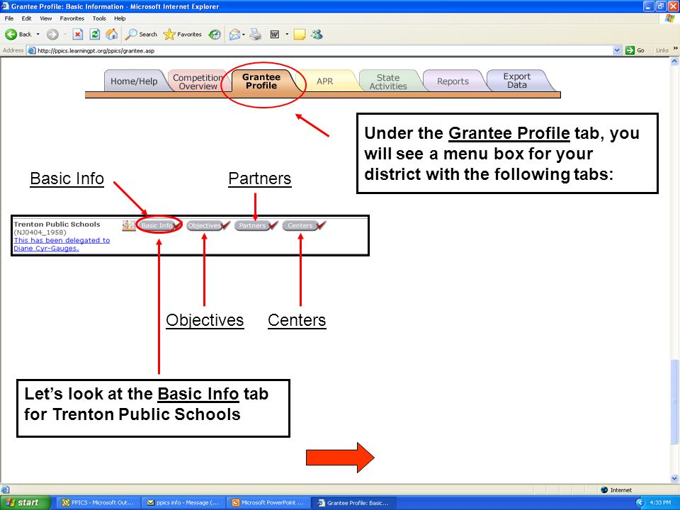 Under the Grantee Profile tab, you will see a menu box for your district with the following tabs: Basic Info Objectives Partners Centers Lets look at