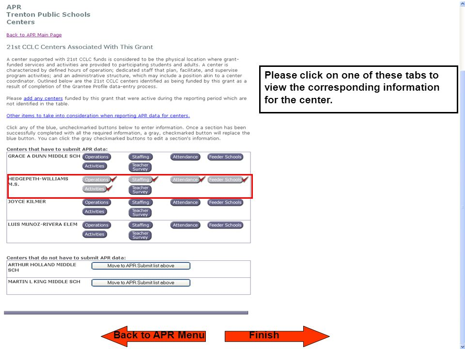 Please click on one of these tabs to view the corresponding information for the center. Back to APR MenuFinish