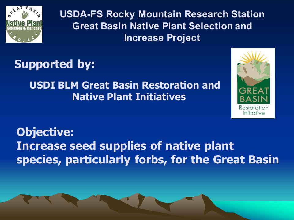 USDA-FS Rocky Mountain Research Station Great Basin Native Plant Selection and Increase Project Supported by: USDI BLM Great Basin Restoration and Native Plant Initiatives Objective: Increase seed supplies of native plant species, particularly forbs, for the Great Basin