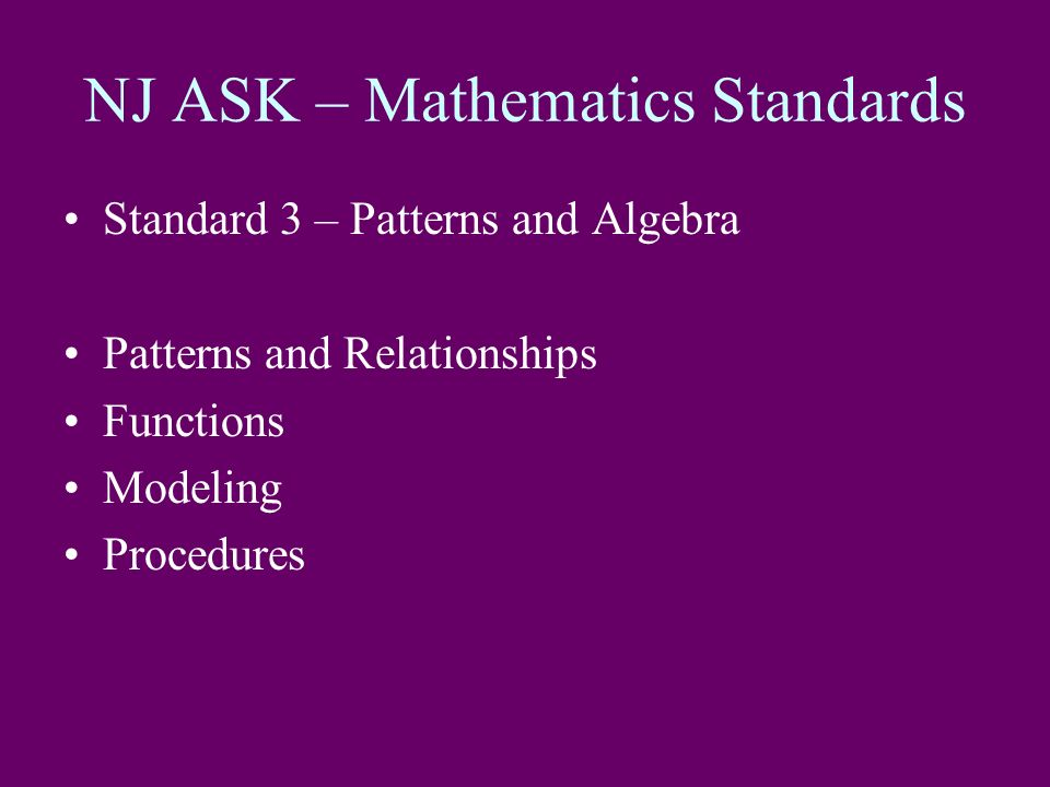 NJ ASK – Mathematics Standards Standard 3 – Patterns and Algebra Patterns and Relationships Functions Modeling Procedures