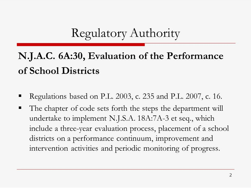 2 Regulatory Authority N.J.A.C. 6A:30, Evaluation of the Performance of School Districts Regulations based on P.L. 2003, c. 235 and P.L. 2007, c. 16.